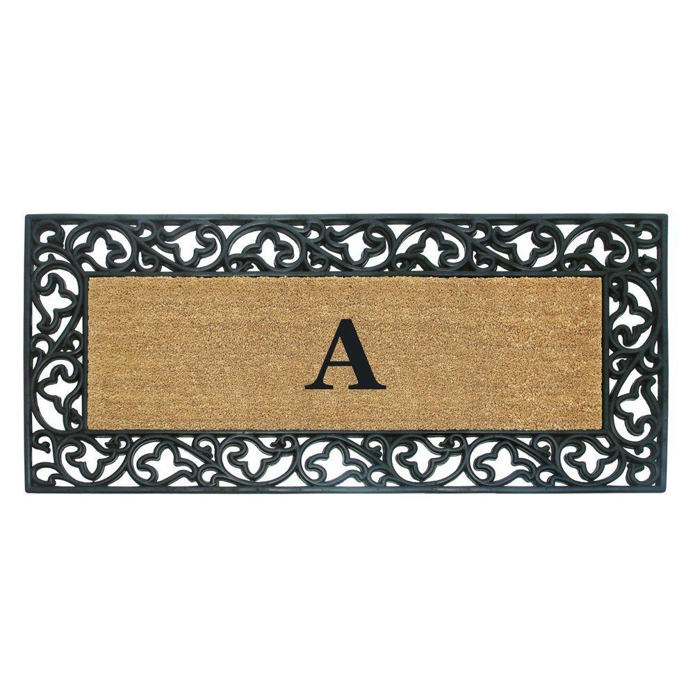 Nedia Home Acanthus Border 24 in. x 57 in. Rubber Coir Monogrammed A Door Mat