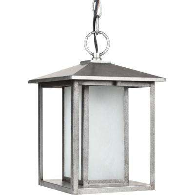 Hunnington 1-Light Outdoor Weathered Pewter Ceiling Mount Hanging Pendant Fixture