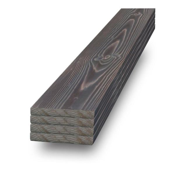 1 in. x 4 in. x 2 ft. Ash Gray  Charred Wood Pine Project Board (4-Pack)