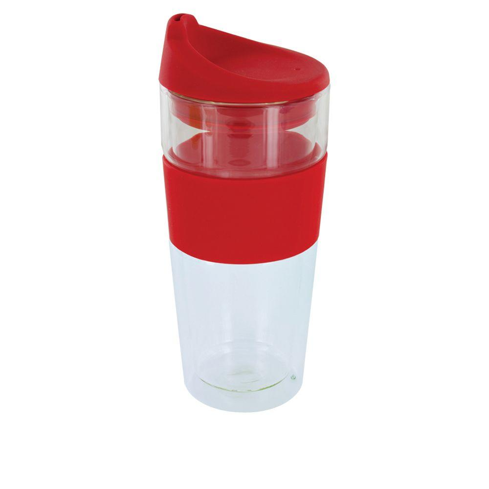null Cafe Moderndo 14 oz. Glass Coffee Cup in Red