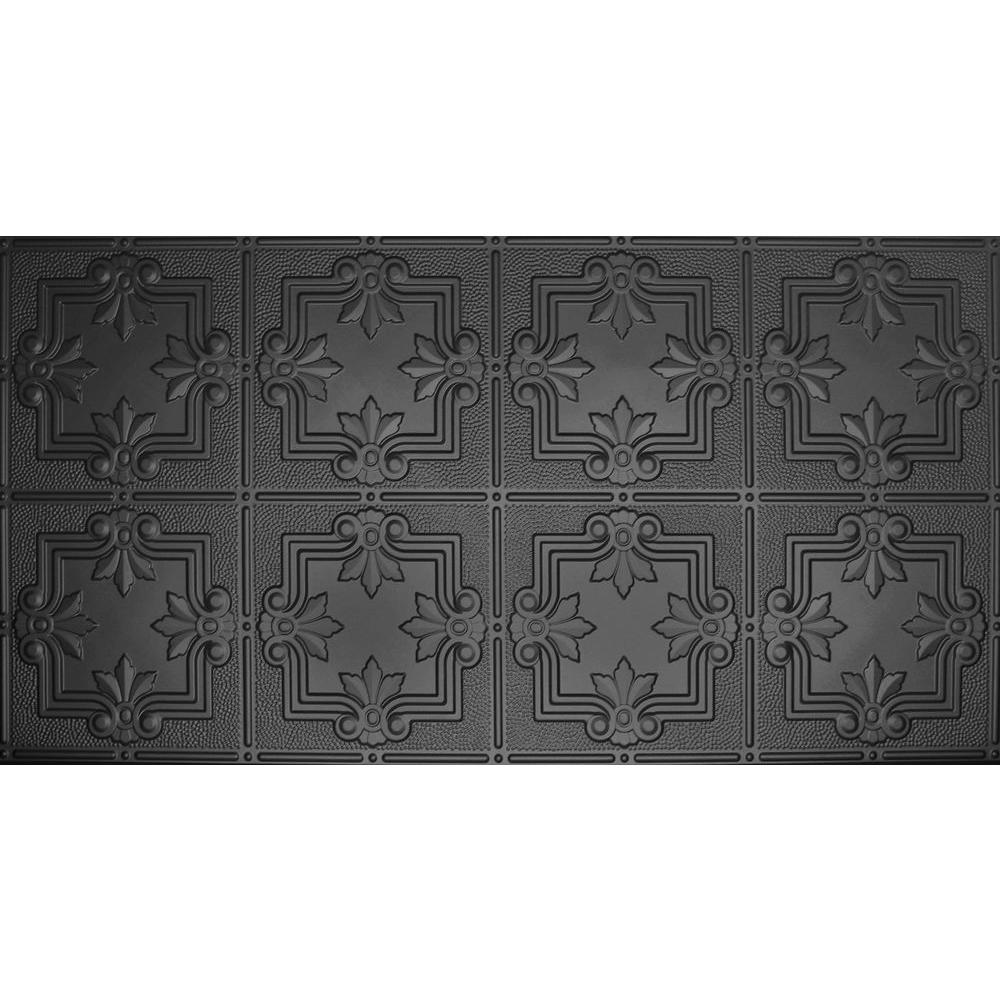 GlobalSpecialtyProducts Global Specialty Products Dimensions Faux 24 in. x 48 in. Black Tin Style Ceiling and Wall Tiles, Matte Black