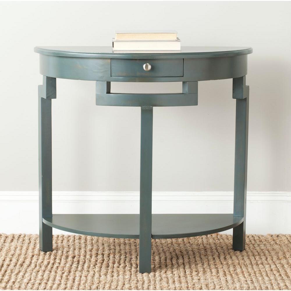 Teal Sofa Table: Safavieh Liana Steel Teal Storage Console Table-AMH6623B