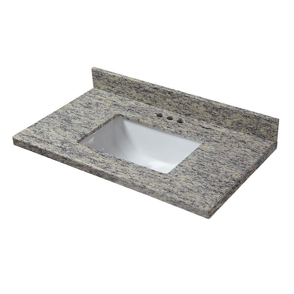 25 in. W x 19 in. D Granite Vanity Top in Santa Cecilia with White Single Trough Sink