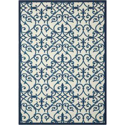 Home and Garden Blue 8 ft. x 11 ft. Indoor/Outdoor Area Rug