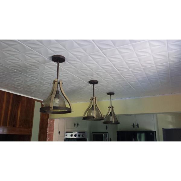 Perceptions 1.6 ft. x 1.6 ft. Glue Up Foam Ceiling Tile in Plain White (21.6 sq. ft./case)