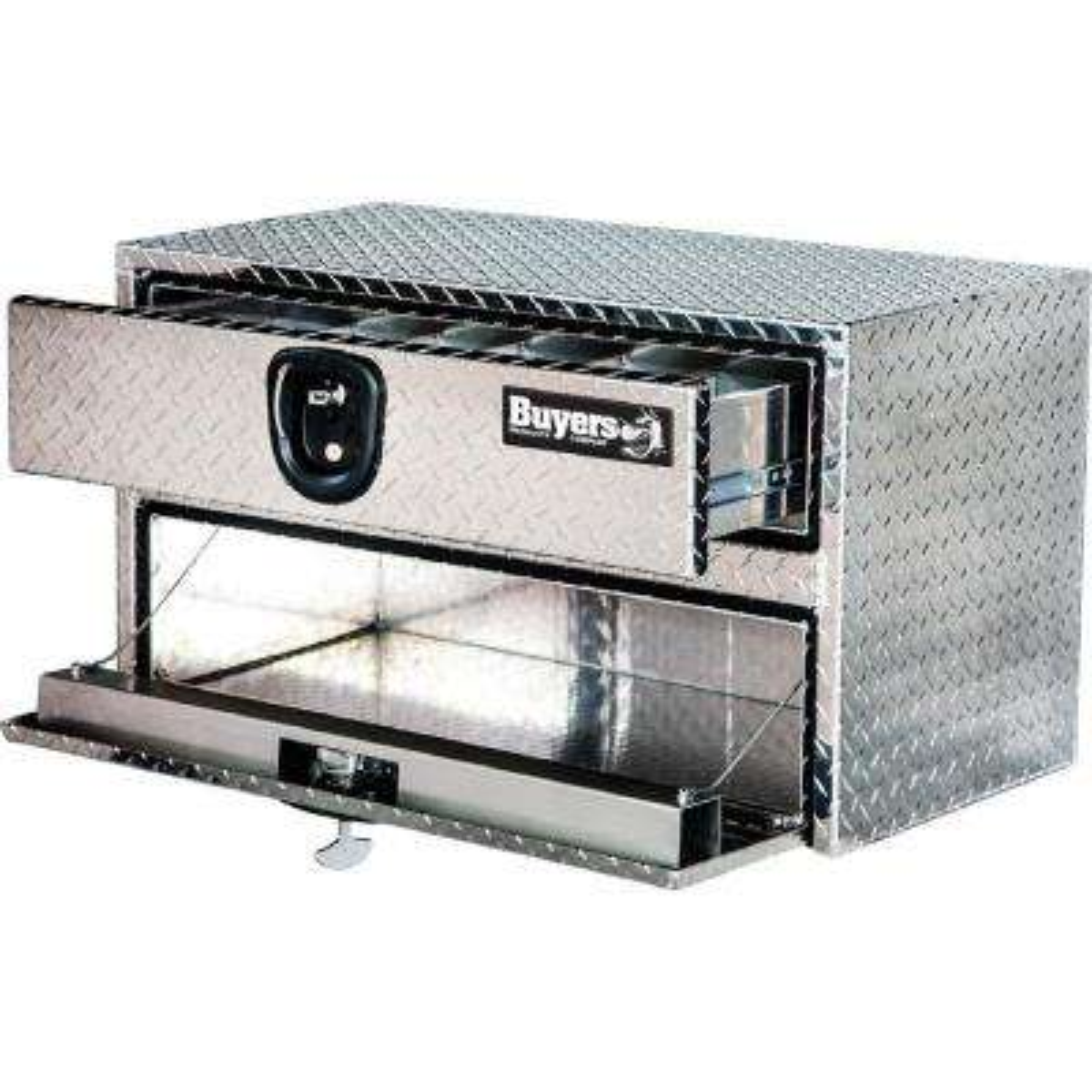 Diamond Tread Aluminum Underbody Truck Box with Drop Door and Drawer, 20 in. x 18 in. x 24 in.