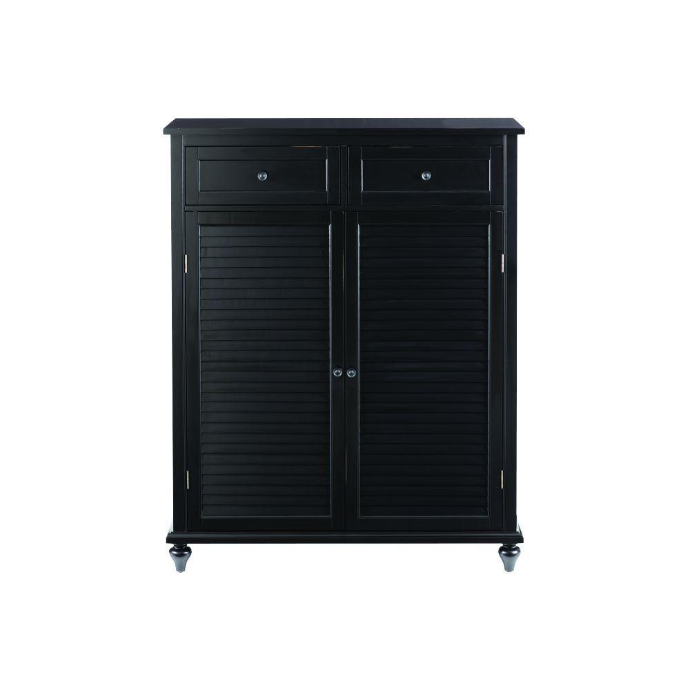 Home Decorators Collection Hamilton Worn Black Shoe Storage Cabinet For 24 Shoes 9200610200 The Depot