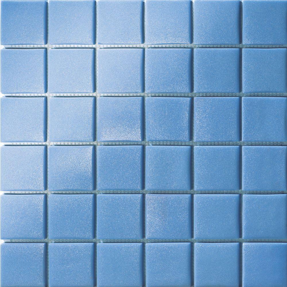Elementz 12.5 in. x 12.5 in. Capri Azzurro Grip Glass Tile-DISCONTINUED