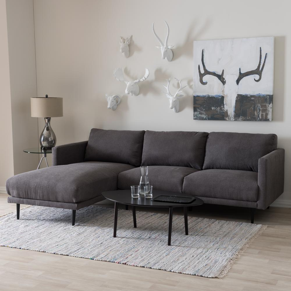 Riley 2-Piece Mid-Century Gray Fabric Upholstered Left Facing Chase Sectional