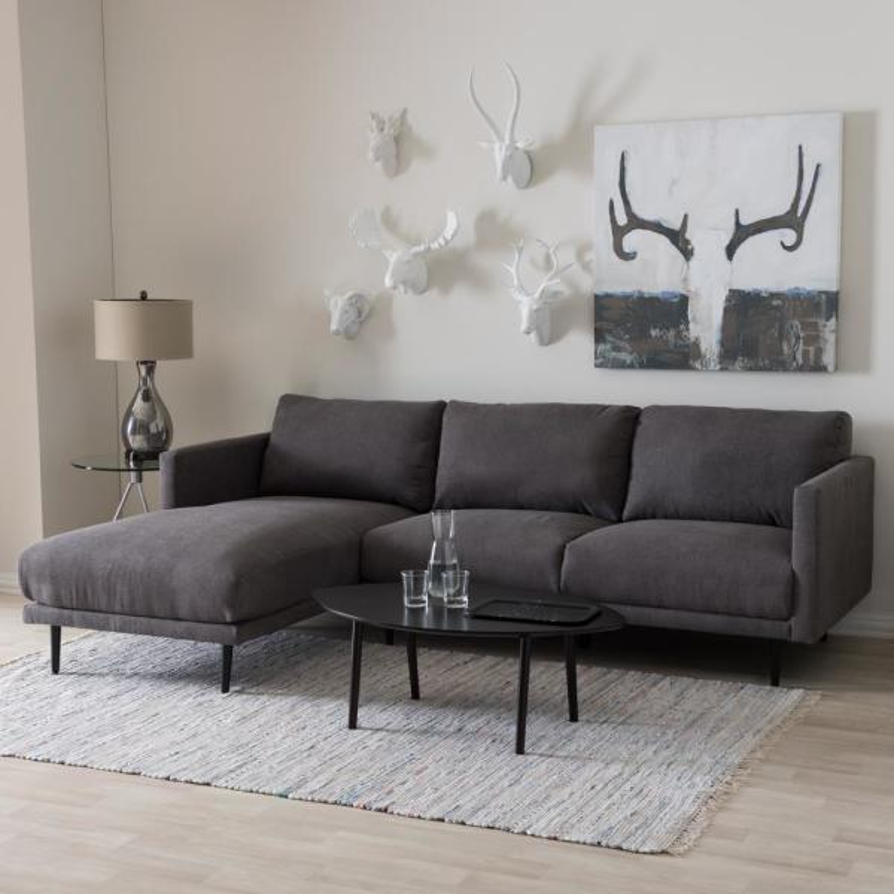 Baxton Studio Riley 2-Piece Mid-Century Gray Fabric Upholstered Left Facing