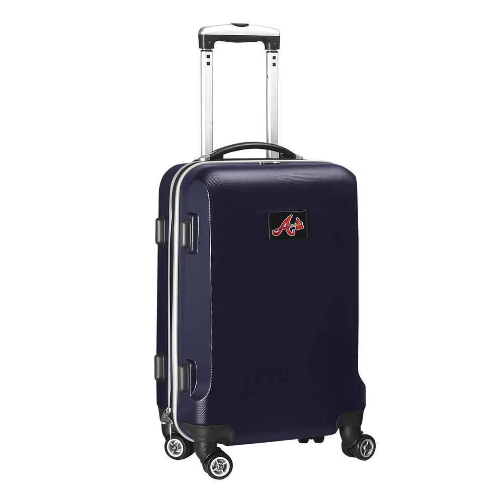 Denco MLB Atlanta Braves 21 in. Navy Carry-On Hardcase Spinner Suitcase, Blue