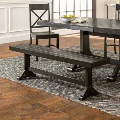 "60"" Traditional Wood Trestle Dining Bench - Antique Black"