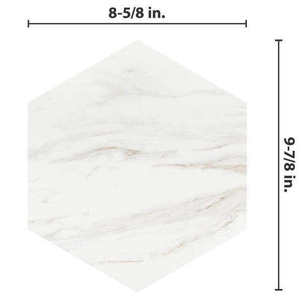 Merola Tile Eterno Carrara Hex 8 5 8 In X 9 7 8 In Porcelain Floor And Wall Tile 11 56 Sq Ft Case Fcd10cax The Home Depot