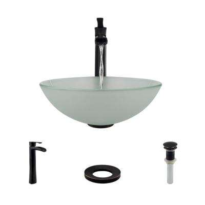 Glass Vessel Sink in Frosted with R9-7007 Faucet and Pop-Up Drain in Antique Bronze