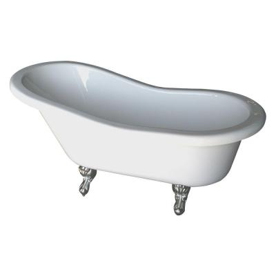 5.6 ft. Acrylic Claw Foot Slipper Tub in White with Polished Brass Feet
