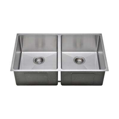 The Chefs Series Undermount Stainless Steel 33 in. Handmade 50/50 Double Bowl Kitchen Sink Package
