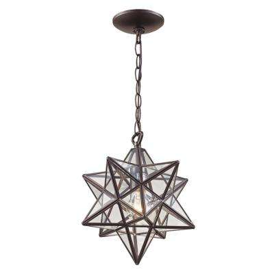 1-Light Bronze Star Pendant with Clear Glass Shade