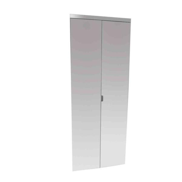 24 in. x 80 in. Polished Edge Mirror Solid Core MDF Interior Closet Bi-Fold Door with Chrome Trim