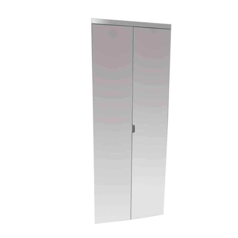 Impact Plus 144 In X 84 In Polished Edge Mirror Solid Core Mdf Full Lite Interior Closet Wood Bi Fold Door With Chrome Trim