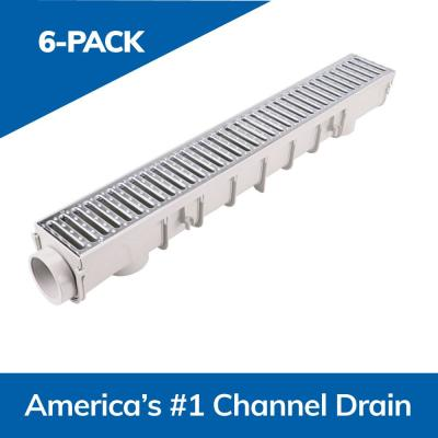 5 in. Pro Series Channel Drain Kit: 5-1/2 in. x 39-3/8 in. Deep Channel Gal Steel Grates End Caps/Outlet (6-Pk=19.7 ft.)
