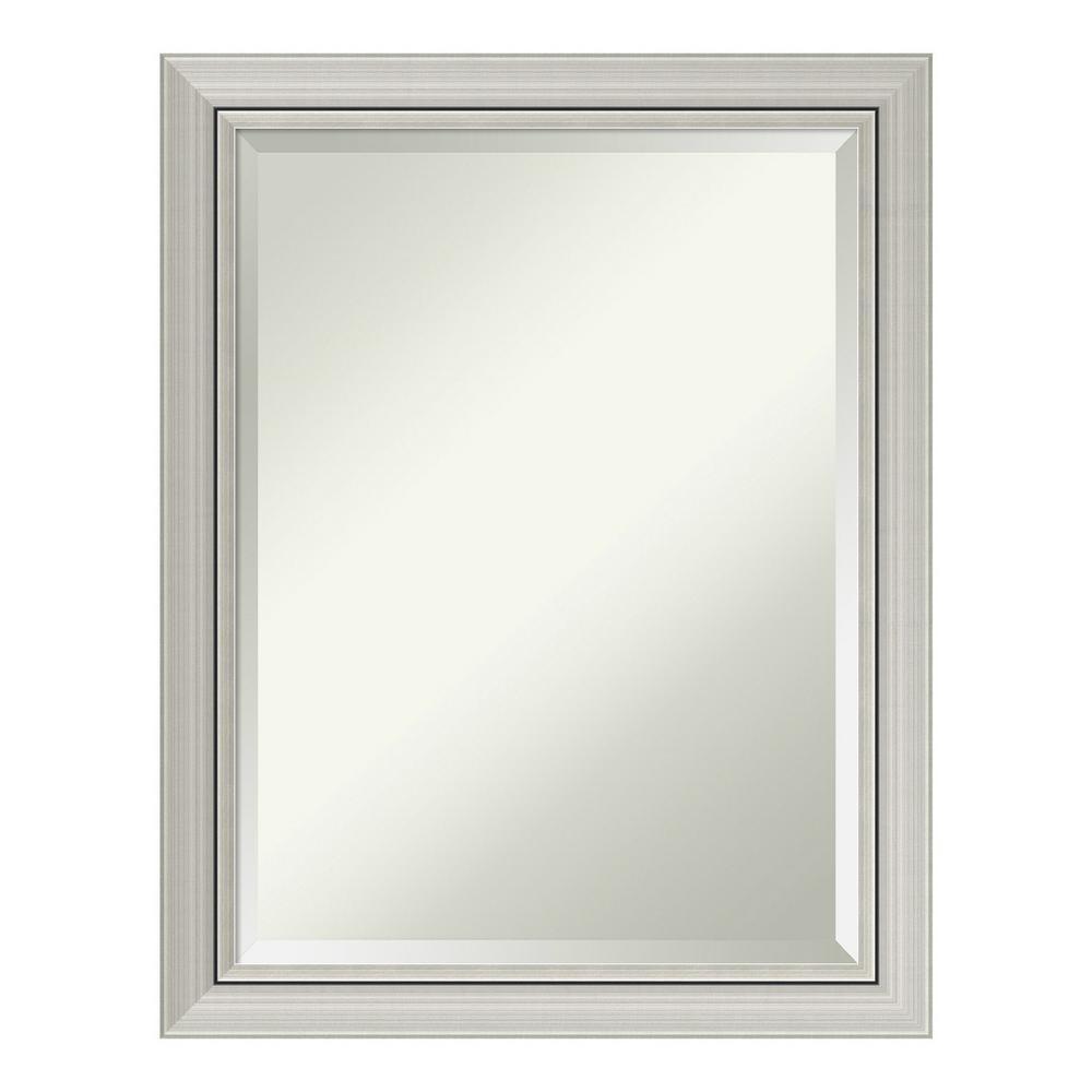Romano Narrow Silver Wood 22 in. x 28 in. Contemporary Bathroom Vanity Mirror