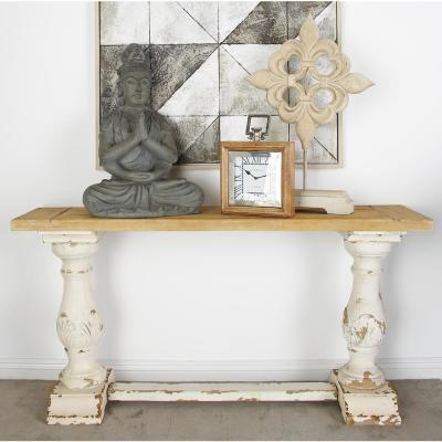 . Litton Lane Distressed White Console Table 14840   The Home Depot