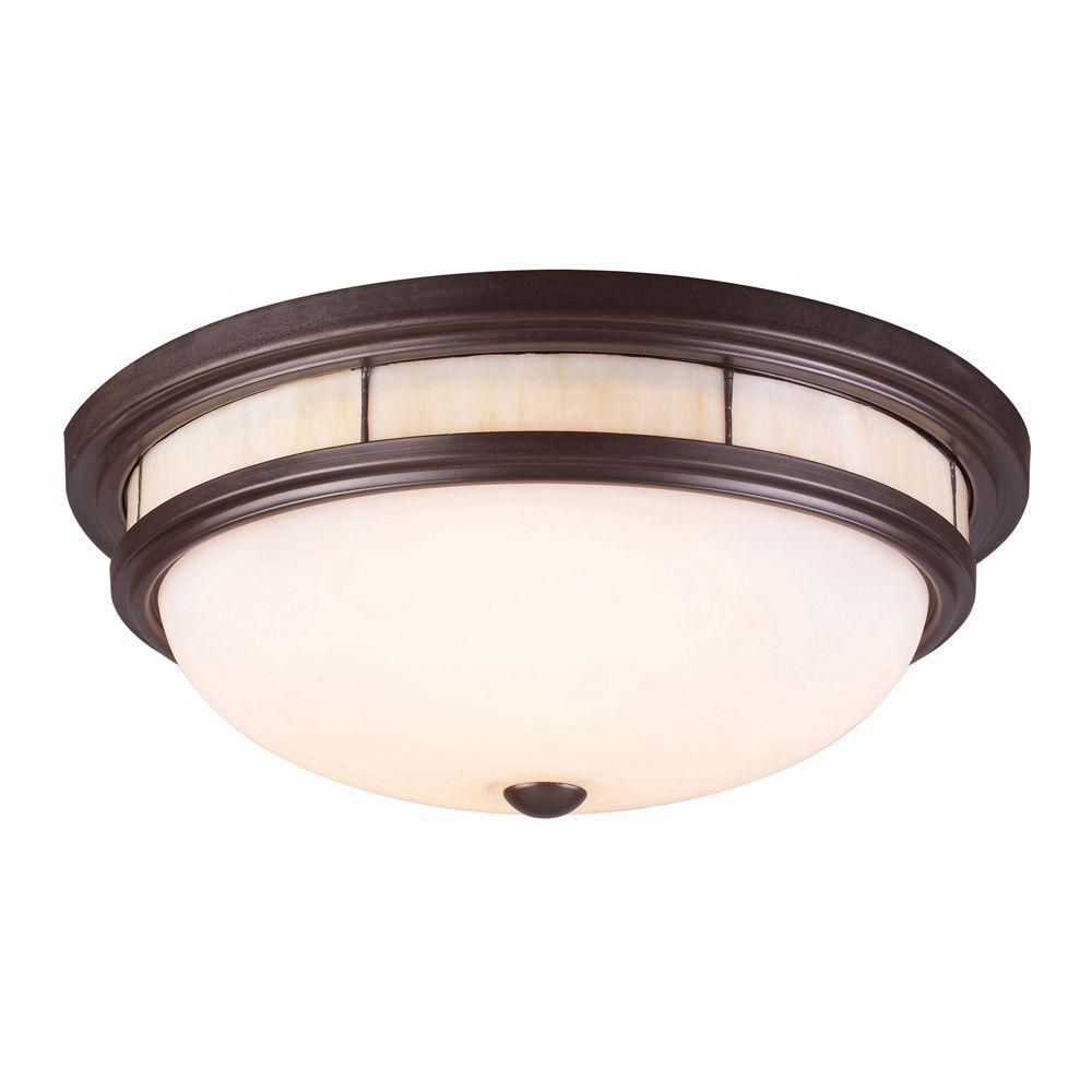 An Lighting Tiffany Flushes 3 Light Oiled Bronze Ceiling Mount Flush