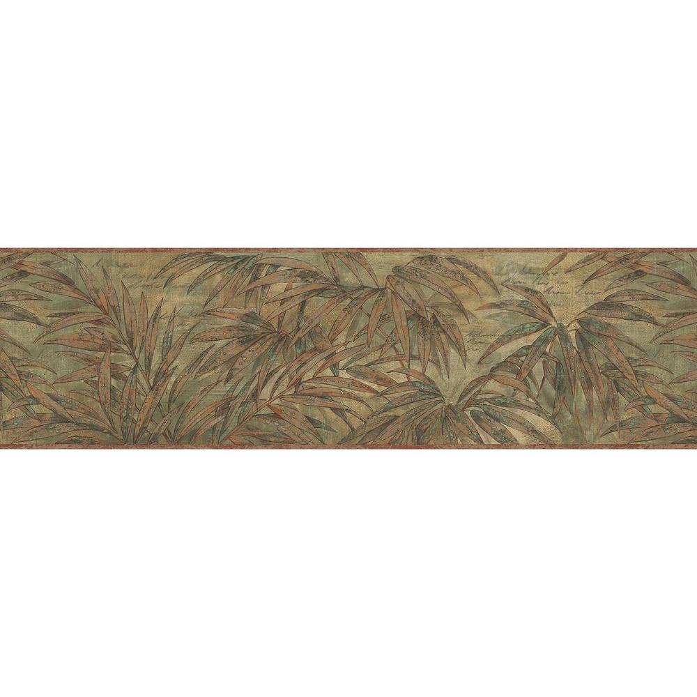 Brewster copper wild fern wallpaper border sample for Wallpaper murals home depot