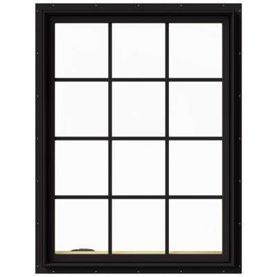36 in. x 48 in. W-2500 Series Black Painted Clad Wood Left-Handed Casement Window with Colonial Grids/Grilles