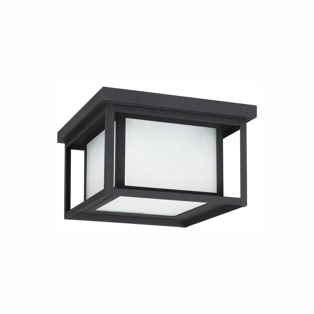 Sea Gull Lighting Hunnington 10 in. W. Black 2-Light Outdoor Flush Mount with LED Bulb