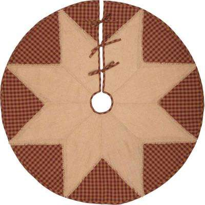 48 in. Burgundy Check Red Primitive Christmas Decor Star Tree Skirt