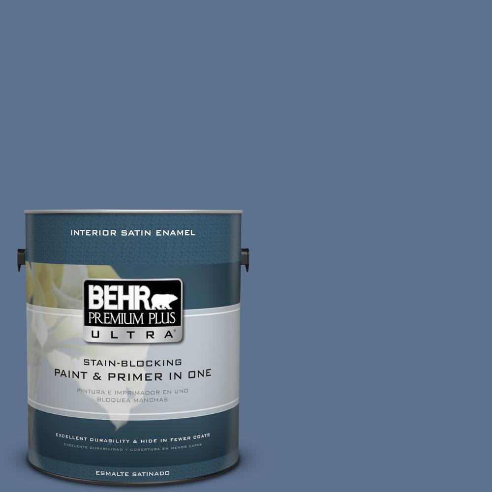 BEHR Premium Plus Ultra 1-Gal. #PPU14-1 Arrowhead Lake Satin Enamel Interior Paint