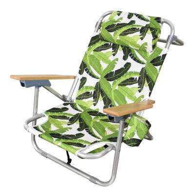Outdoor Aluminum Frame 2-in-1 Sling Beach Chair with 2 Large Back Storage Pouches