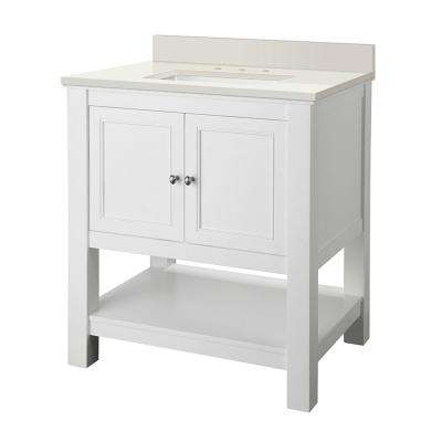 Gazette 30 in. W x 22 in. D Vanity in White with Engineered Marble Vanity Top in Winter White with White Sink