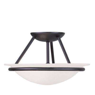 Providence 2-Light Ceiling Black Incandescent Semi-Flush Mount