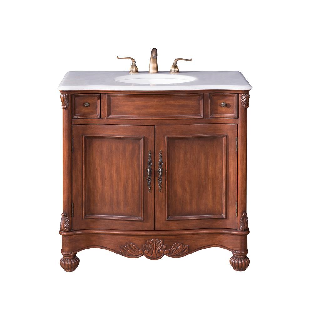 Unbranded Penn 36 in. Single Bath Vanity w/ 2 Drawers 1 Shelf 2 Doors; Marble Top; Porcelain ...
