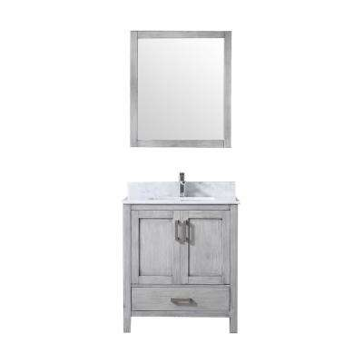 Jacques 30 in. Single Bath Vanity in Distressed Grey w/ White Carrera Marble Top w/ White Square Sink and 28 in. Mirror