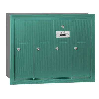 Green Recessed-Mounted USPS Access Vertical Mailbox with 4 Door