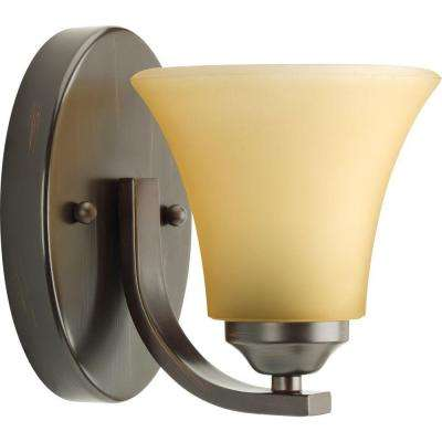 Adorn Collection 1-Light Antique Bronze Bath Sconce with Etched Light Umber Glass Shade