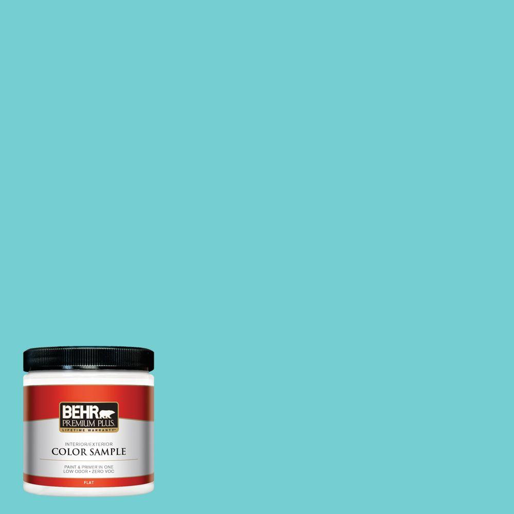 8 oz. #P460-3 Soft Turquoise Interior/Exterior Paint Sample