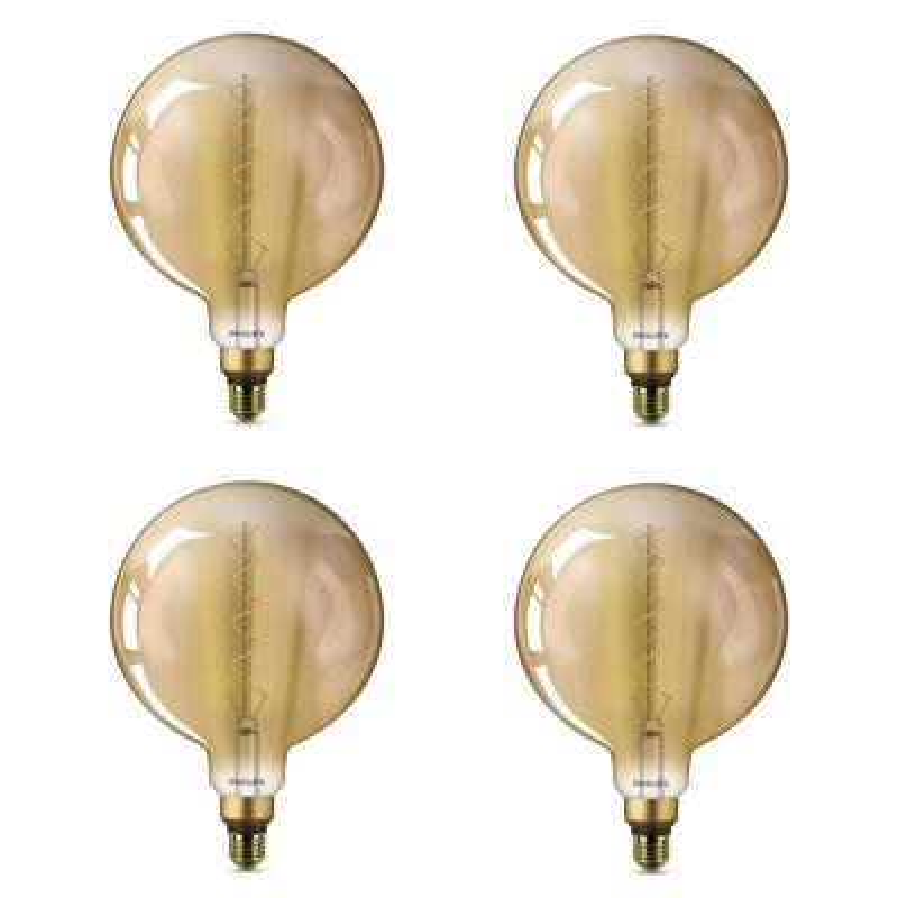 25-Watt Equivalent G63 Dimmable Vintage Glass Edison LED Large Light Bulb Amber Warm White (2000K) (4-Pack)
