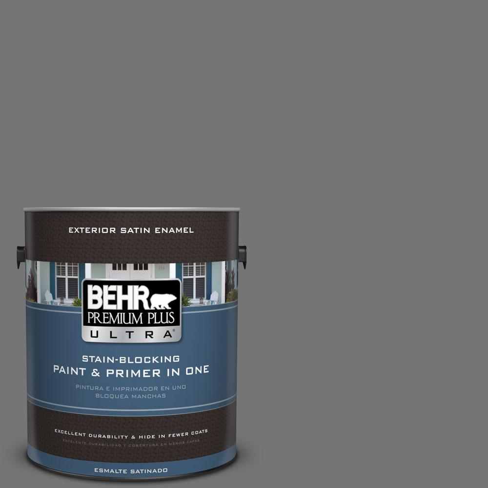 BEHR Premium Plus Ultra 1-gal. #N520-5 Iron Mountain Satin Enamel Exterior Paint