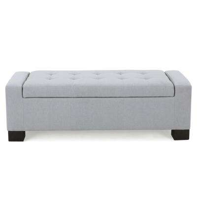 Guernsey Light Gray Fabric Storage Bench