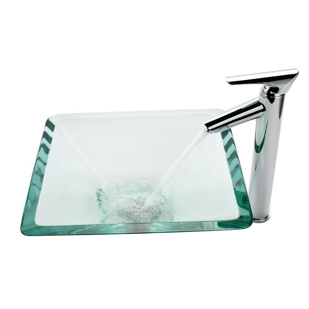 KRAUS Square Glass Vessel Sink in Clear with Decus Faucet in Chrome