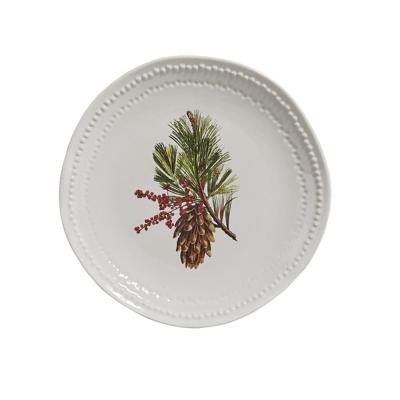 Pinecone White Plate (Set of 4)