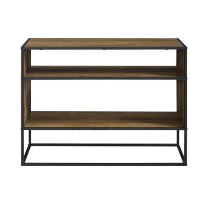 40 in. Rustic Oak Metal and Wood Storage Console