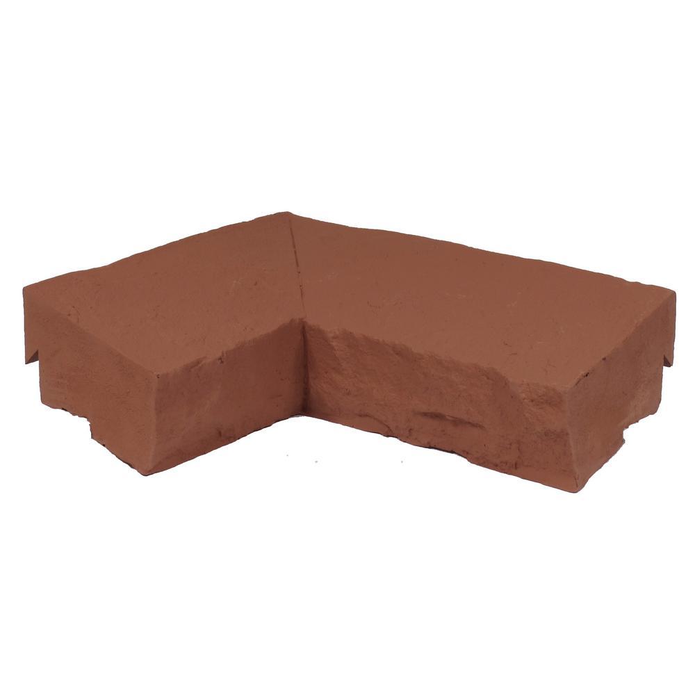 Sandstone Red 9.75 in. x 7.5 in. Faux Stone Ledger Inside Corner (2-Pack)