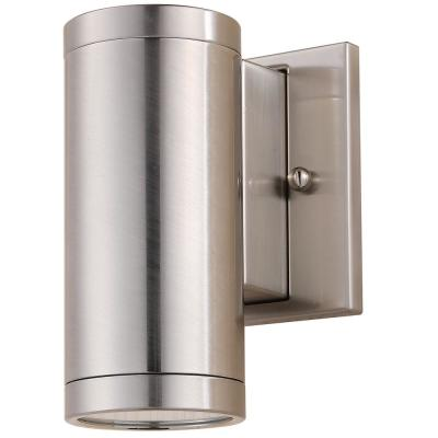 Brushed Nickel Steel LED Dimmable Outdoor Wall Cylinder Light Sconce, Warm White 3000K