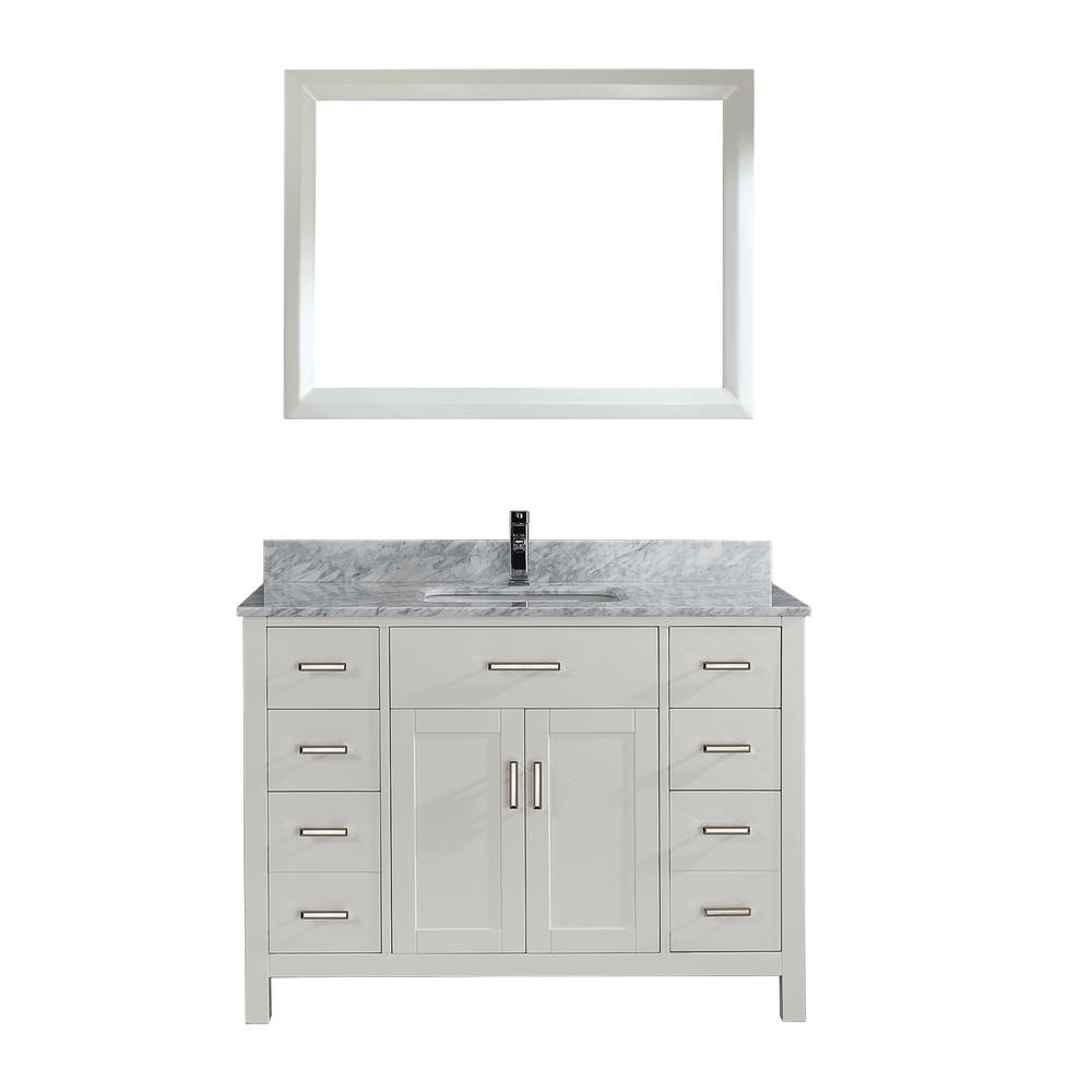 Studio Bathe Kalize 48 in. Vanity in White with Marble Vanity Top in Carrara White and Mirror