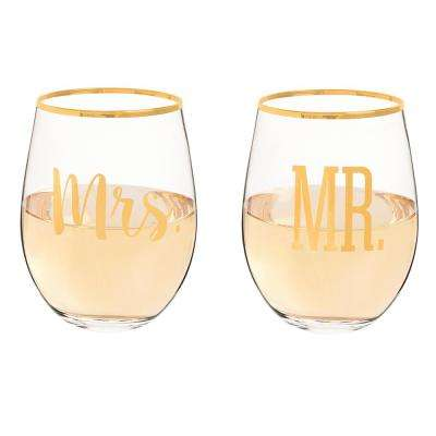 Mr. & Mrs. 19.25 oz. Gold Rim Stemless Wine Glasses (4-Pack)